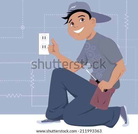 Electrician installing a wall socket  - stock vector
