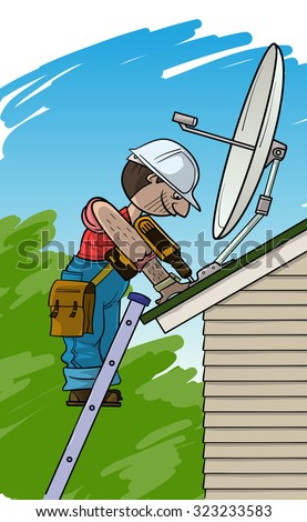 Electrician installs the satellite antenna on a roof - stock vector