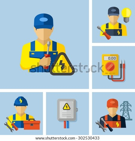 Electrician worker icons  - stock vector