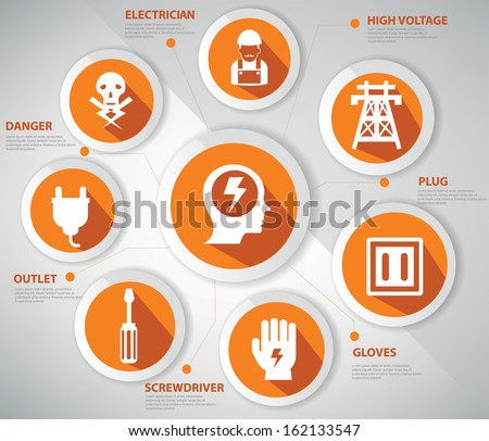 Electricity concept,Infographics, icons set,Orange version - stock vector