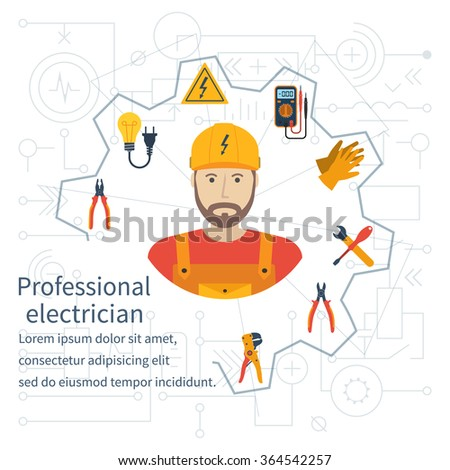 Electricity design concept. Professional electrician. Electricity service. Maintenance and repair of electrical circuits. Electricity service.Icons and security instrument. Flat vector illustration - stock vector