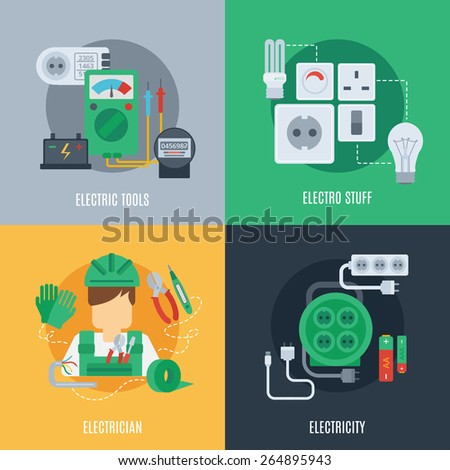 Electricity design concept set with electric tools electrician stuff flat icons isolated vector illustration - stock vector
