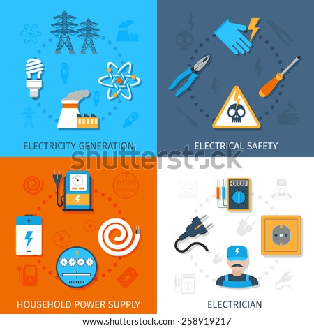 Electricity design concept set with generation electrical safety household power supply electrician flat icons isolated vector illustration - stock vector