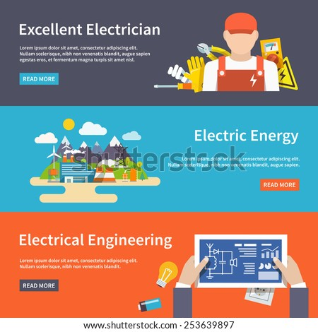 Electricity flat horizontal banner set with electrician energy engineering elements isolated vector illustration - stock vector