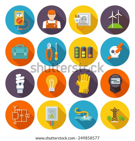 Electricity icon flat set with electric energy power equipment test toolbox isolated vector illustration - stock vector