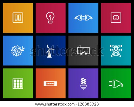 Electricity icons in Metro style - stock vector