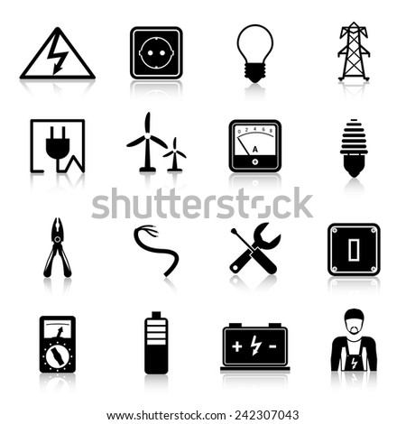 Electricity icons set with industrial power and energy equipment isolated vector illustration - stock vector