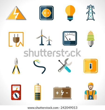 Electricity icons set with tester engineer socket electric power equipment isolated vector illustration - stock vector