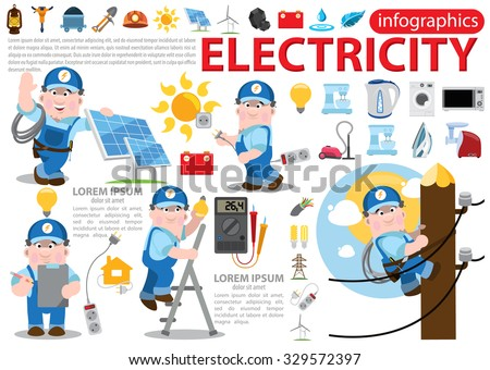 Electricity infographics, energetics, professional electrician concept with electric man - stock vector
