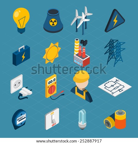 Electricity isometric icons set with lightbulb windmill electrician toolbox isolated vector illustration - stock vector
