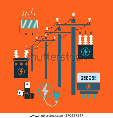 Electricity line flat design theme. Vector illustration.  - stock vector