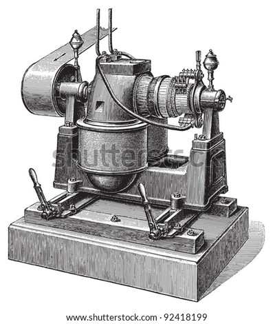 Electricity machine (direct current) / vintage illustrations from Meyers Konversations-Lexikon 1897 - stock vector