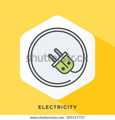 Electricity plug icon with dark grey outline and offset flat colors. Modern style minimalistic vector illustration for AC power plugs and sockets. - stock vector