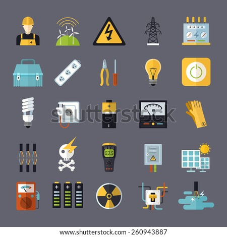 electricity related flat icons set over grey background - stock vector