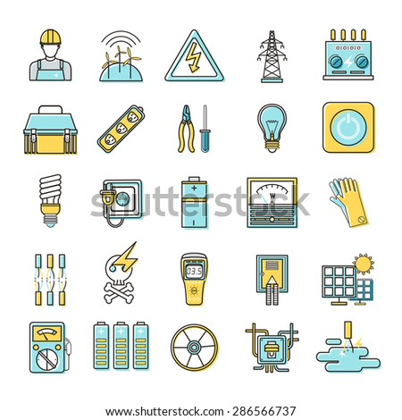 electricity related flat line icons set over white background - stock vector