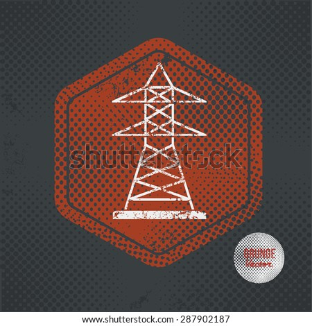 Electricity,stamp design on old dark background,grunge concept,vector - stock vector