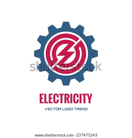 Electricity - vector logo concept illustration. Gear logo. Factory logo. Technology logo. Mechanical logo. Vector logo template. Design element. - stock vector