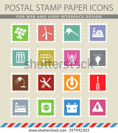 electricity web icons for user interface design - stock vector
