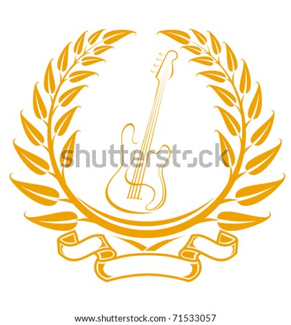 Electro guitar symbol in laurel wreath isolated on white - also as emblem. Jpeg version also available in gallery - stock vector