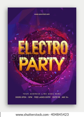 Electro Musical Party Template, Dance Party Flyer, Night Party Banner or Club Invitation design. - stock vector