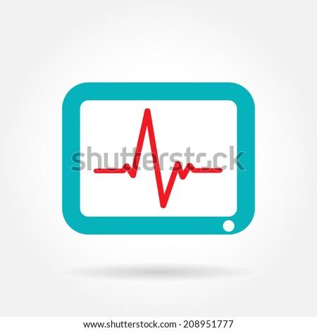 Electrocardiogram, ecg or ekg - medical vector icon - stock vector