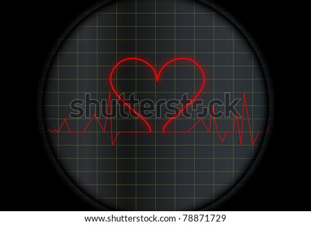 electrocardiogram with a heart symbol - stock vector