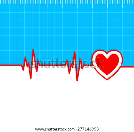 Electrocardiogram with heart silhouette and copy-space.Useful as medical background - stock vector