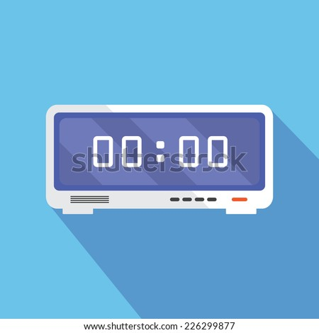 Electronic alarm clock icon. Modern Flat style with a long shadow - stock vector