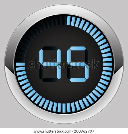 Electronic brilliant timer 45 seconds - stock vector