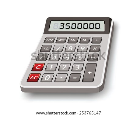 electronic calculator isolated on white background - stock vector