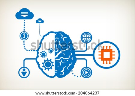 Electronic chip and abstract human brain, the concept of the information movement - stock vector