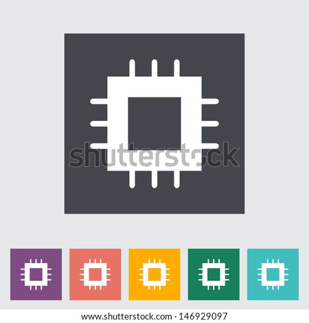 Electronic chip flat icon. Vector illustration. - stock vector