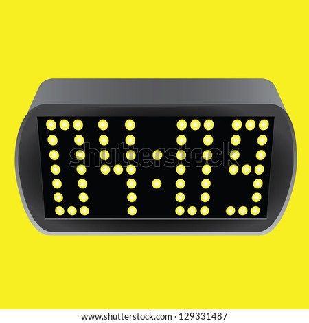 Electronic clock with luminous placards. Vector illustration. - stock vector