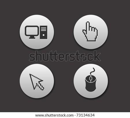 Electronic computer icon set. Internet Button vector illustration. - stock vector
