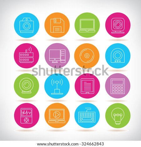 electronic device and gadget icons - stock vector