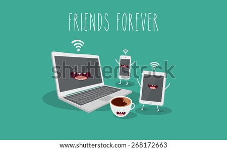 Electronic device, computer, laptop, tablet, phone and coffee illustration. Vector cartoon. Friends forever. Comic characters.  - stock vector