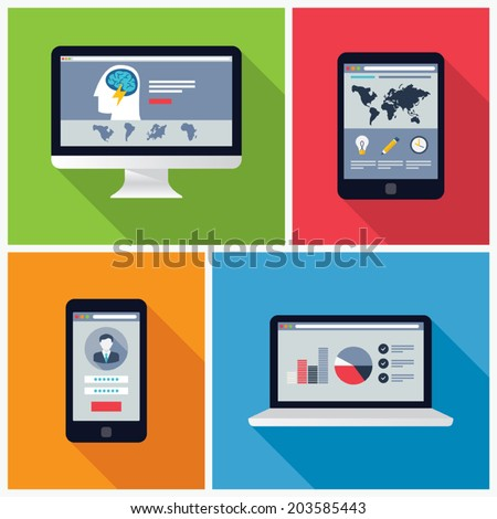 Electronic Device Flat Design Illustrations, computer, laptop, tablet, phone - stock vector