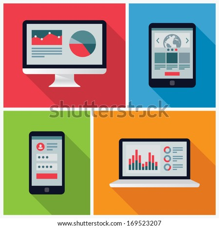 Electronic Device Flat Icons - stock vector