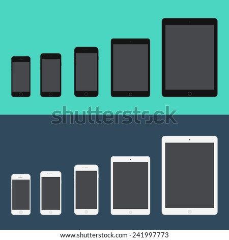 Electronic device phone and tablet (Iphone 5S, Iphone 6, Iphone 6 plus, Ipad mini, Ipad air) trendy flat icons. Vector illustration. - stock vector