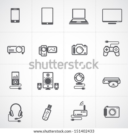 Electronic Devices Icons set - stock vector