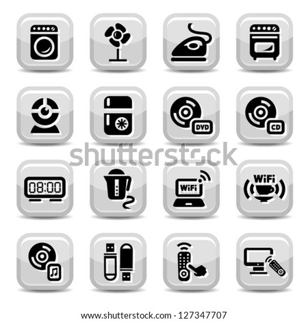 Electronic Devices Icons Set for web and mobile. All elements are grouped. - stock vector
