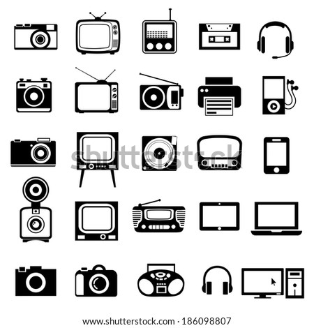 Electronic devices.  Icons set on white background. - stock vector