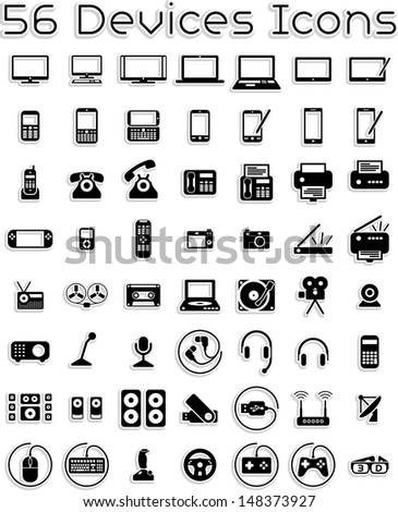 Electronic Devices Icons - Vector icons set covering electronic devices: computers, tablets, laptops, accessories.  - stock vector