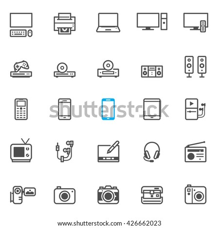 Electronic Devices icons with White Background - stock vector