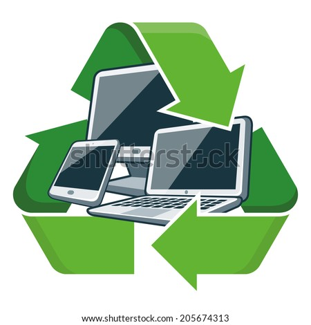 Electronic devices with recycling symbol. Isolated vector illustration. Waste Electrical and Electronic Equipment - WEEE concept.  - stock vector