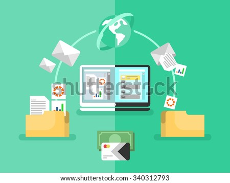 Electronic document management. Data digital file, system storage, computer archive, information database, order catalog, flat vector illustration - stock vector