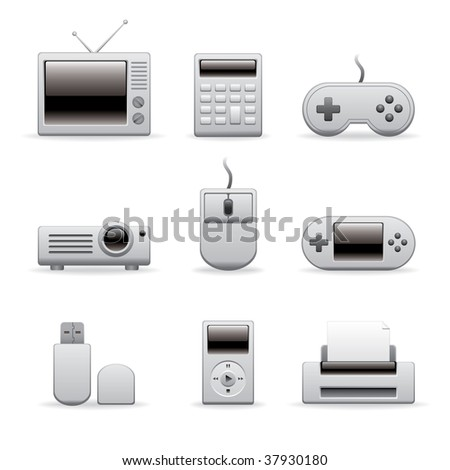 electronic equipment icons on white - stock vector