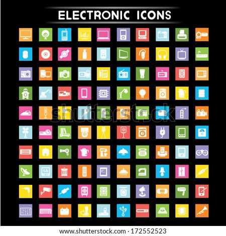 electronic icons set, flat icons set - stock vector
