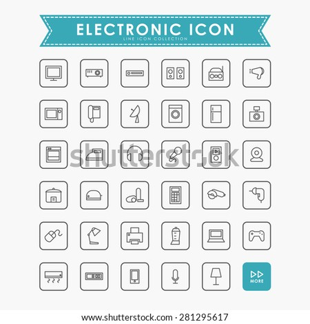 electronic line icons - stock vector