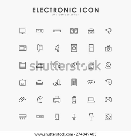 electronic minimal line icons - stock vector